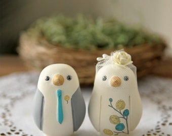 Custom Wedding Cake Topper - Small Hand Painted Love Birds with Nest and Painted Bouquet