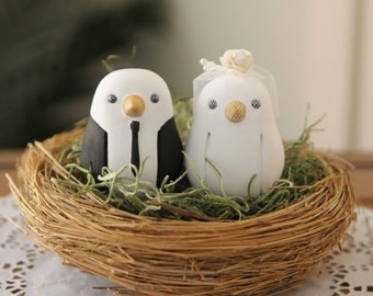 Custom Wedding Cake Topper - Small Hand Painted Love Birds with Nest