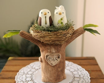 Wedding Cake Topper - Love Birds with Tree and Nest - Small