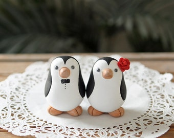 Wedding Cake Topper -- Penguin Cake Topper -- Small