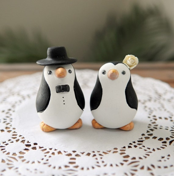 Custom Order Wedding Cake Topper - Small Hand Sculpted and Painted Penguins