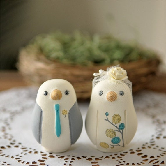 Custom Wedding Cake Topper Small Hand Painted Love Birds