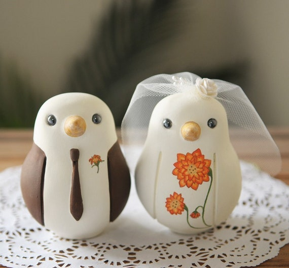 Custom Wedding Cake Topper - Large Hand Painted Love Birds with Painted Bouquet