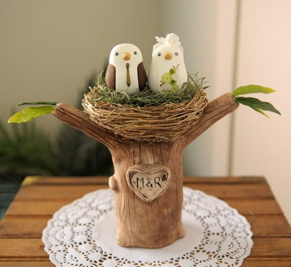 Wedding Cake Topper Love Birds With Tree And Nest Small