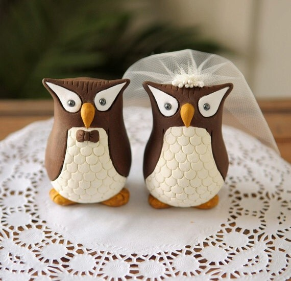 Custom Wedding Cake Topper Hand Sculpted And Painted Owls