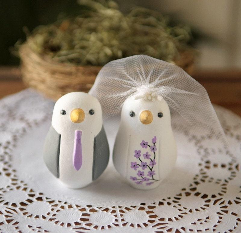 Custom Wedding Cake Topper Small Hand Painted Love Birds