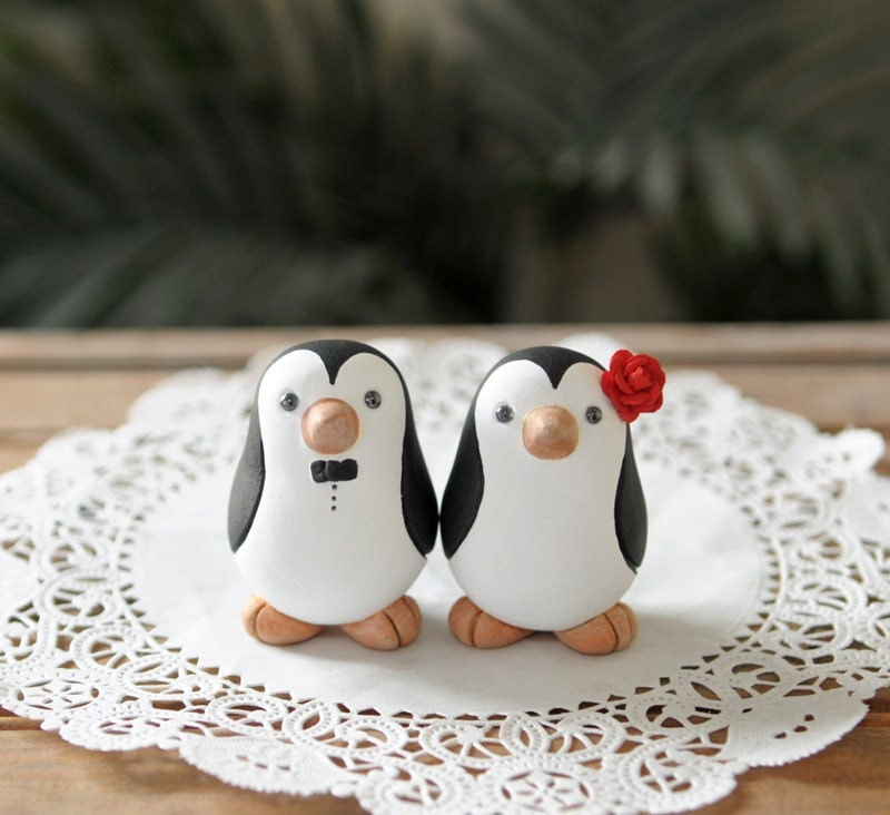penguin wedding cake topper wedding cake topper penguin cake topper small 18187