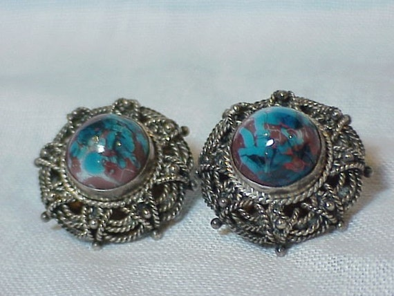 vintage clip earrings 900 PA signed