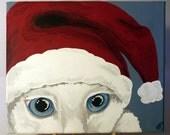 SALE - Peekaboo Christmas Kitty - Original Painting - 10x12 Acrylic