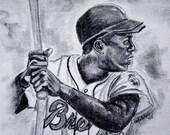 Hammerin' Hank - 8.5x11 High Quality Print of Original Portrait Drawing