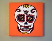 Dia De Los Muertos Skull - 6x6 Original Acrylic Painting on Gallery Wrapped Canvas