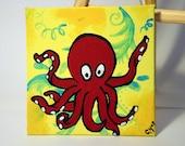 SALE - Geoff the Octopus - Original Acrylic Painting - 4x4