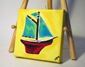 Toy Sailboat - Original Acrylic Painting - 4x4
