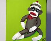 Sock Monkey - Original Acrylic Painting - 6x6 - Can be Customized
