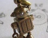 steampunk robot pendant Bubblehead robot in Bronze and stainless steel long antiqued brass ball chain