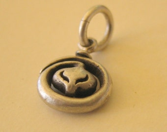 snake charms TINY  steampunk SERPENT EMBRYO on gunmetal brass chain