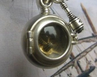 Steampunk lockets STEAM BUBBLE octopus proof locket sterling silver and quartz with antique brass ball chain