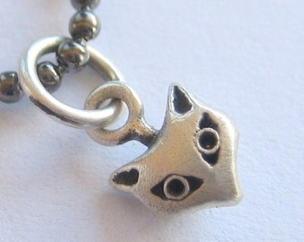 cat necklace MINI MEOW tiny cat head sterling silver on long gunmetal ball chain