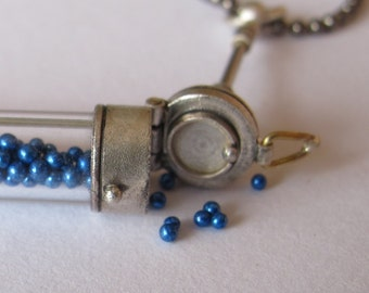 steampunk locket test tube vial sterling small blue balls gunmetal ball chain