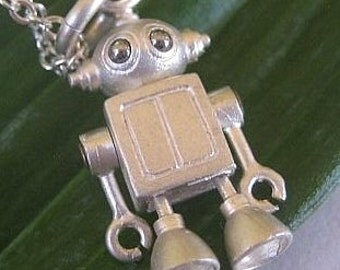 Bubble head robot in Sterling silver
