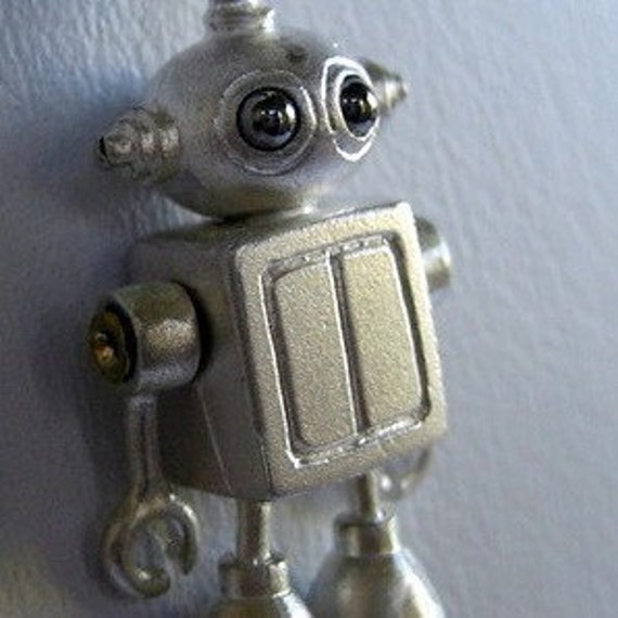 Steampunk robot BUBBLE HEAD ROBOT in sterling silver