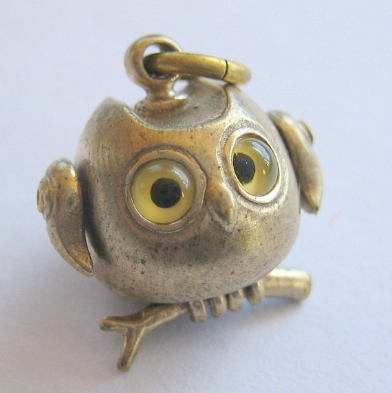 owl necklace Bronze owl pendant GLASSY EYED OWL with long gunmetal ball chain
