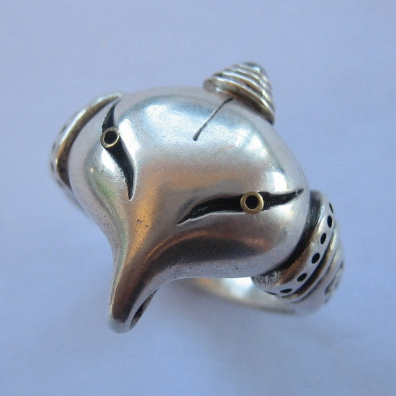 Elephant ring ALIEN ELEPHANT steampunk solid sterling silver  size 6.25 US