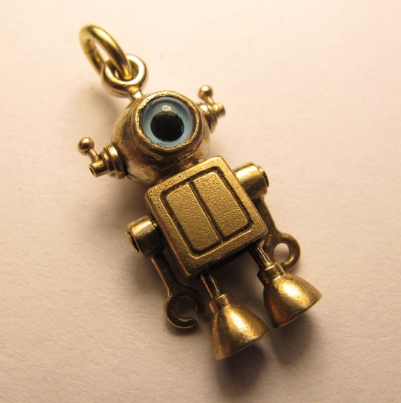 ROBOT pendant baby cyclops bronze and glass