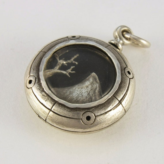 locket Steampunk locket MOUNTAIN DISC LOCKET solid Sterling silver and quartz with T bar cord sterling fittings