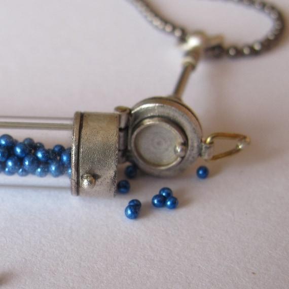 steampunk locket test tube vial sterling small blue balls gunmetal ball chain