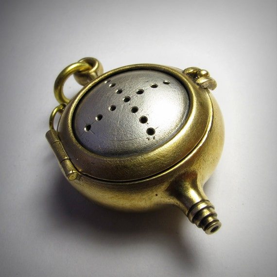 steampunk locket bronze and sterling AMPHOROID large silver domed with gunmetal cable T bar chain
