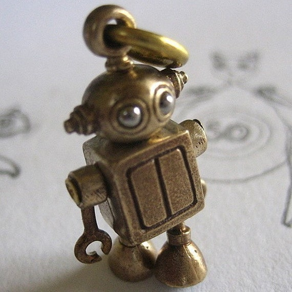 Bubble headed robot in Bronze and stainless steel