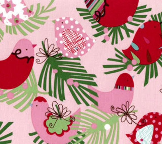 Fall Special - 2 yards Christmas Holiday Starling in Pink from Alexander Henry Fabrics