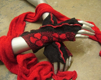 """Red and black fingerless gloves and scarf set. Gloves are 8"""" long x 31/2"""" wide. Scarf is 70"""" long x 7"""" wide"""