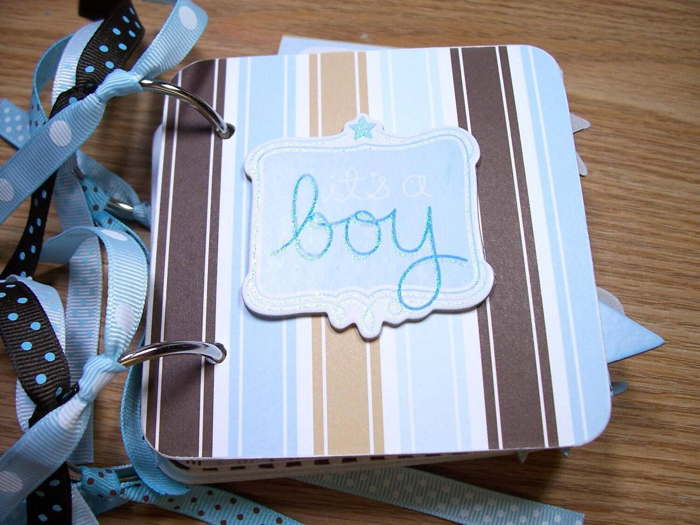 How to scrapbook a baby album -  baby boy premade mini scrapbook album zoom