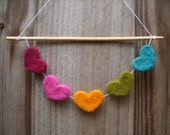 love love love needle felted hearts garland