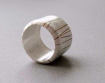 DOMED RING,  sterling silver  men, woman, cooper, contemporary jewelry, man, father, dad, dady,