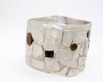 Old  Buenos Aires Streets Ring,  contemporary modern jewelry, orgganic, sterling silver, cooper, squares, irregular, gotic,