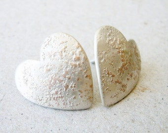 Small textured heart earring love, romantic, sterling, texture, hearts, Valentine. Valentines, Love, cooper, white