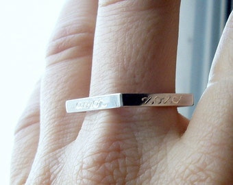 Personalized jewelry, Personal Square Ring,  Valentine. Valentines, Love, sterling silver, handmade, white, name