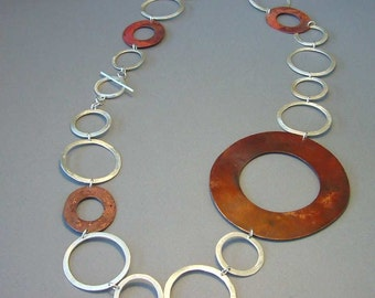 D-ring giant necklace, modern contemporary jewelry, big