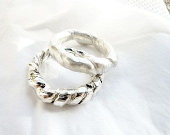 Rope ring, Handmade, woman, loop, circular, organic,  Handcrafted Sterling Silver Earwires, White, Bride, Ivory,  Romantic
