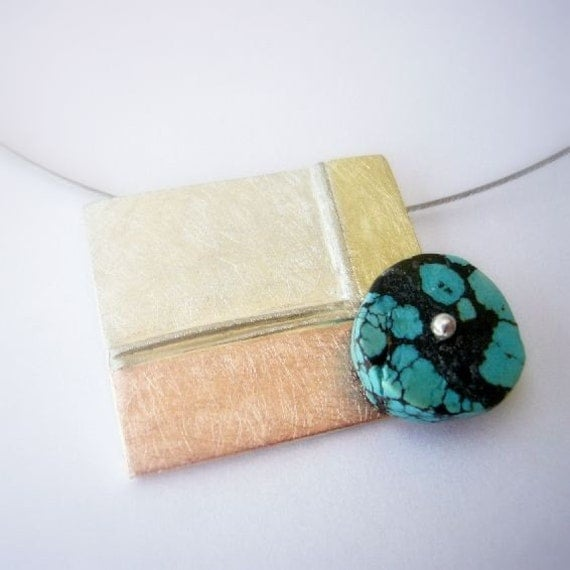 Turquoise pendant, modern contemporary jewelry, aqua, blue, yellow, red