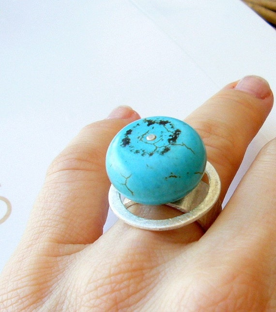 Satellite turquoise ring, bead, organic, blue, sterling,  contemporary modern jewelry, ring,