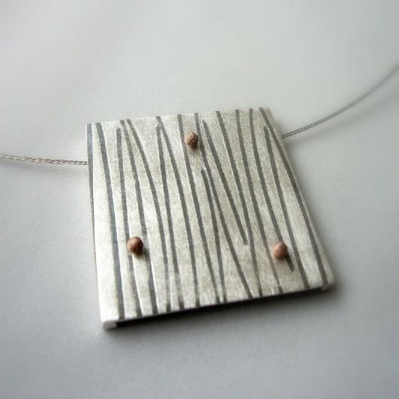 Bamboo pendant, modern contemporary jewelry, striped, strip, cooper, ball, sterling silver, differerent, grey, geometrical jewelry