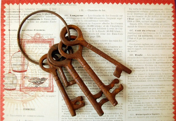Rusty KEYS ON RING Found Object for Steampunk Art or Decor, Altered Art, Mixed Media Art