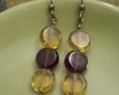 Amber and Bugundy, Dot Dot Dot Earrings