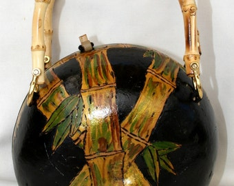 SALE 35% OFF  Bamboo Gourd Purse Pyrographed Painted Lined