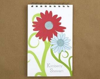 Personalized Journal Notebook - Curvy Flower