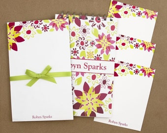 Stationery Set with Notepad, Cards and Journal - Flower Punch Design